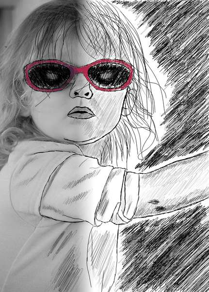 Drawing of little girl in sunglasses