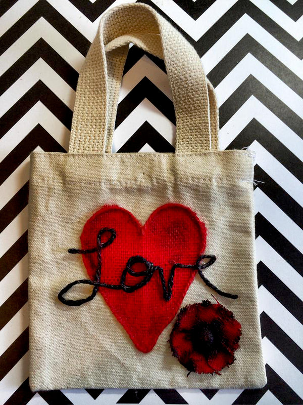 simple valentine bag (Canvas Corp and Tattered Angels)
