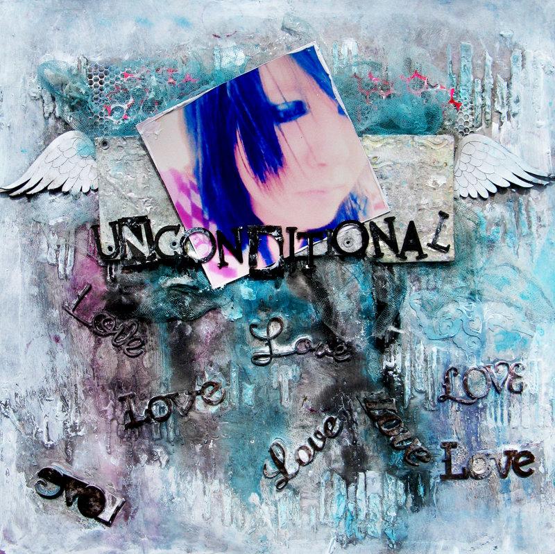 "Scrap Fx laser chipboard and stencil ""unconditional love"""