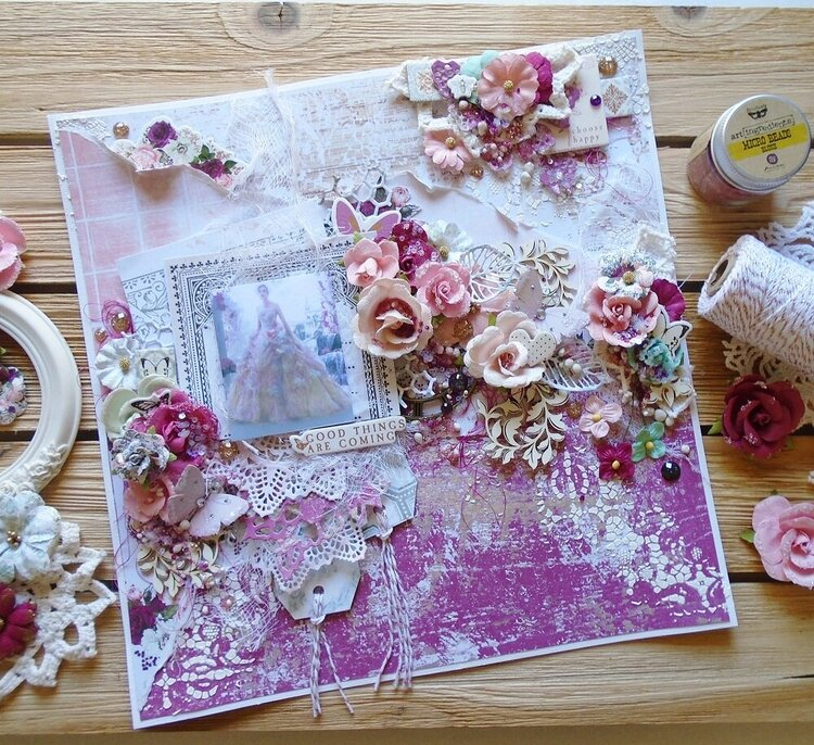 Scrapbook Layout Prima Marketing Pretty Mosaic Collection