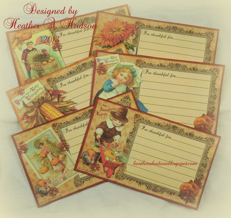 """Thanksgiving """"Thankful For"""" Family Tradition Card set"""