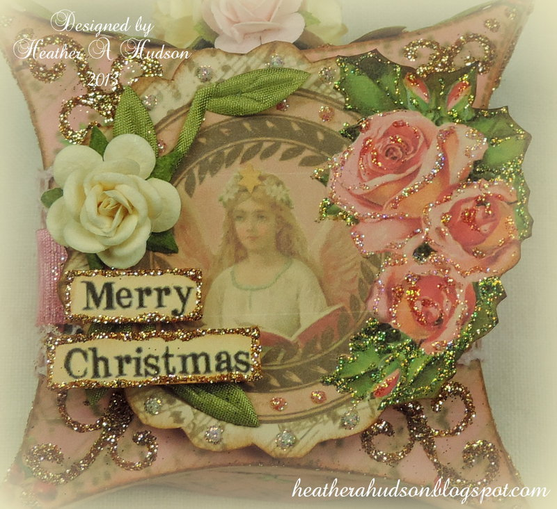 Vintage Victorian Shabby Chic Pink Christmas Pillow Box Ornament