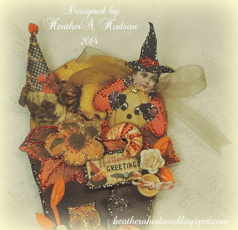 Vintage Halloween Witch Boot Card Pieces