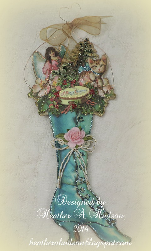 Victorian Ladies Christmas  Blue Boot Ornament