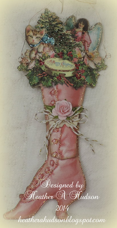 Victorian Ladies Christmas Pink Boot Ornament
