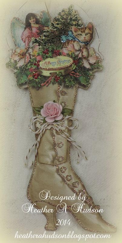 Victorian Ladies Christmas Cream Boot Ornament