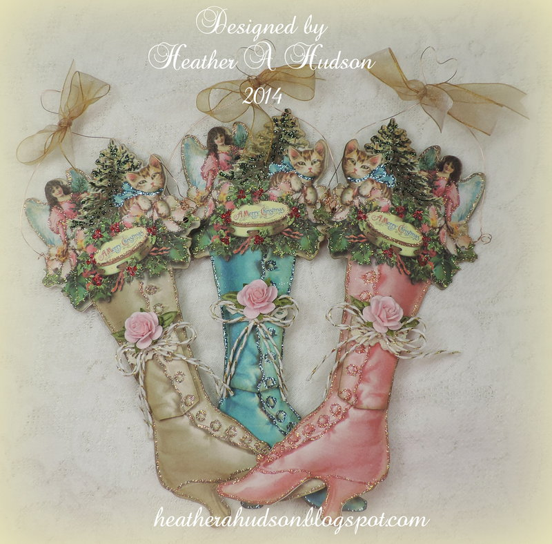 Victorian Ladies Christmas Boot Ornament