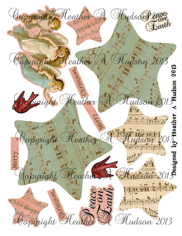 Vintage Angel Christmas Ornament Collage Sheet