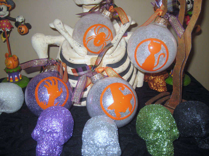 Halloween Glow-in-the-Dark Glittered Ornamnets