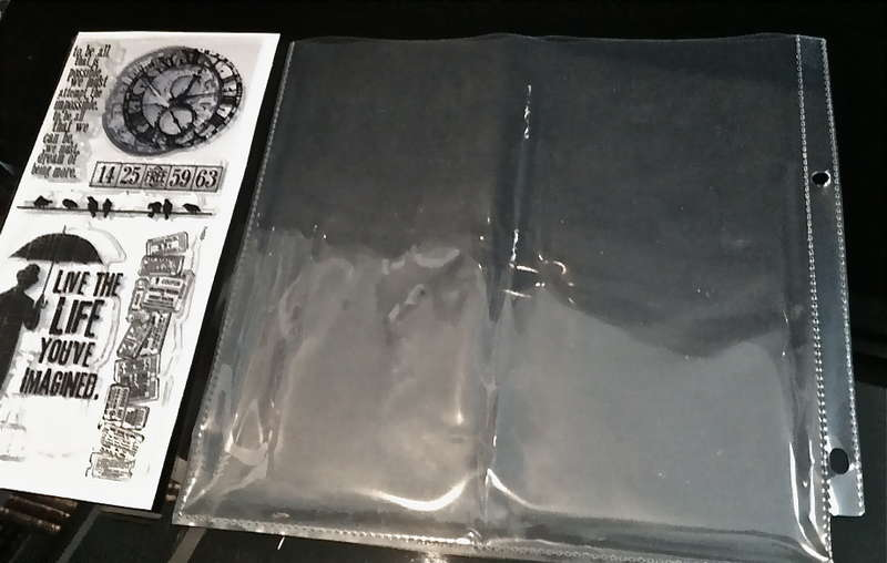 modified page protectors for inkadinkado, hampton art & tim holtz clear stamps
