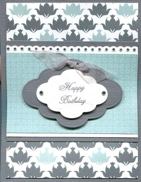 BLUE GRAY HAPPY BIRTHDAY CARD