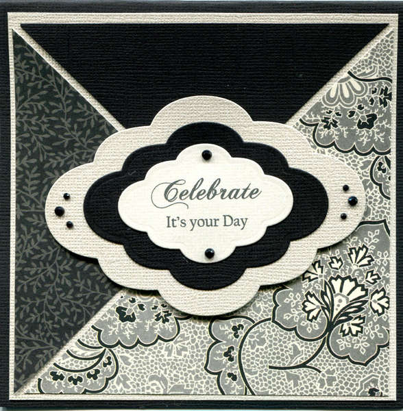 BLACK WHITE CELEBRATE CARD
