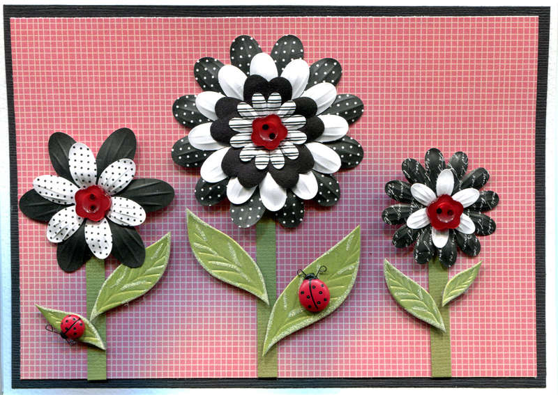 RED BLACK FLOWER LADYBUG CARD