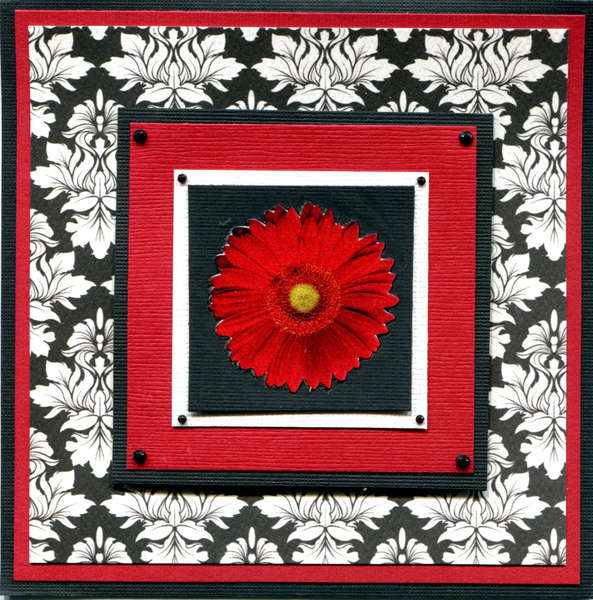 BLACK RED FLOWER CARD