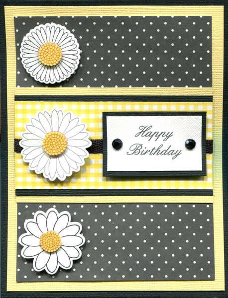 YELLOW BLACK HAPPY BIRTHDAY CARD