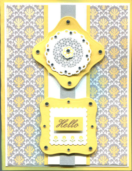 YELLOW GRAY HELLO CARD