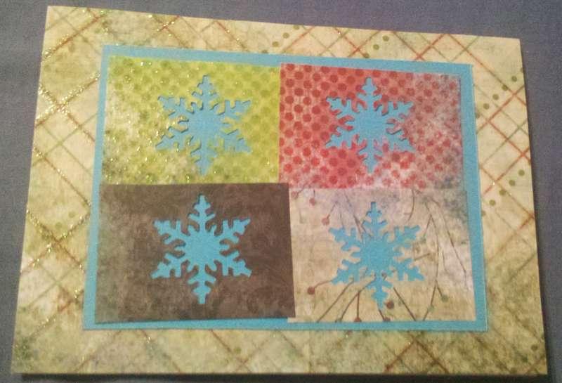 Blocked Snowflakes Christmas Card
