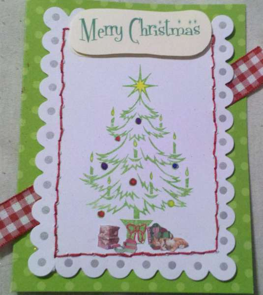 Christmas card - stamped tree with stitching