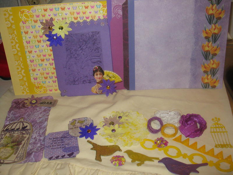 FEBRUARY 8X8 KIT SWAP - PURPLE AND YELLOW - BIRD AND BIRDCAGES
