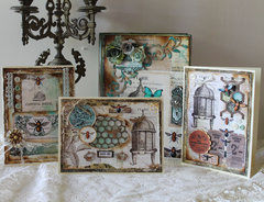 Altered wooden book box and card set