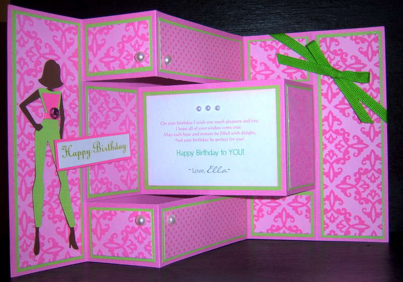 Pink and Green Damask Greeting Card