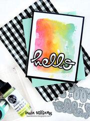 Rainbow Watercolor Hello Card