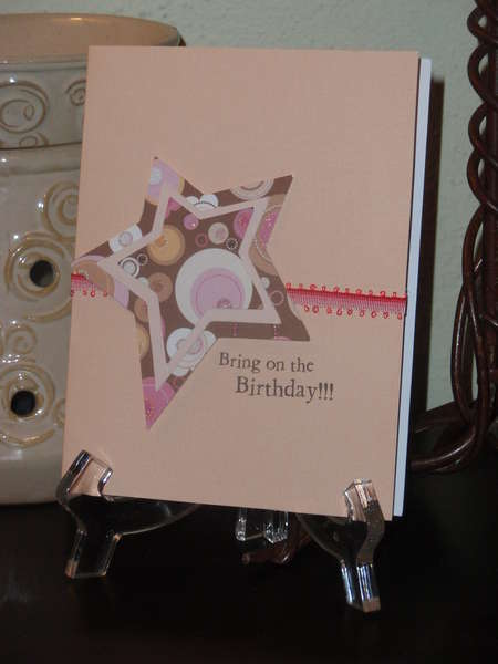Bring on the Birthday, in pink and brown.