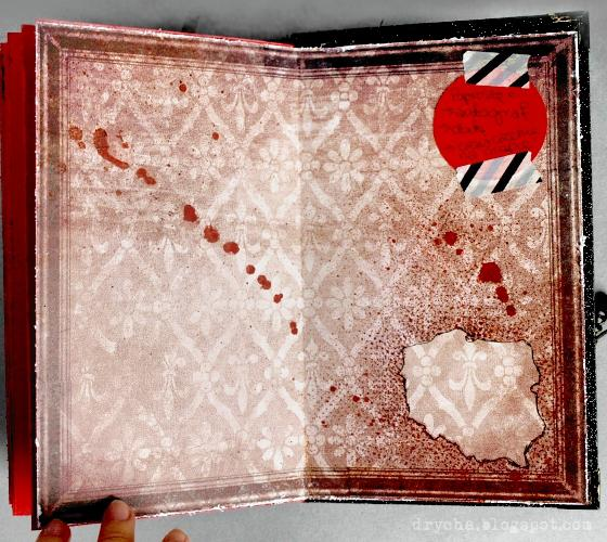 """""""Macabre"""" travelling art journal - page for signs and dates."""