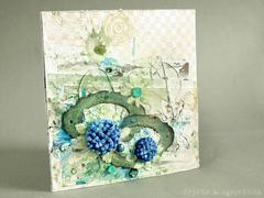 spring mixed media card with 3rd Eye stamps