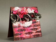 pink card using my new 3rd Eye feathers stamps