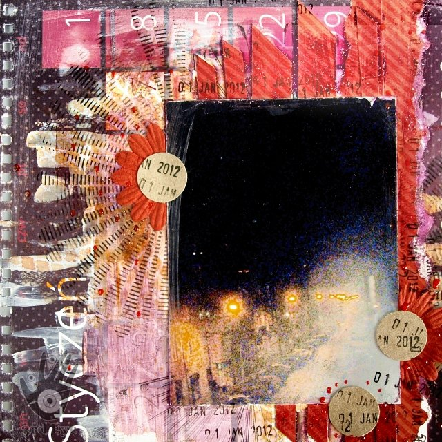 messy mixedmedia layout with 3rd Eye stamps