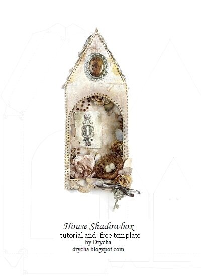 House Shadowbox +TUTORIAL and TEMPLATE! *Scraps of Darkness June Kit White Rabbit*