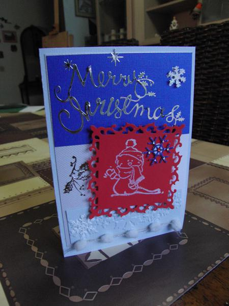 Merry Christmas card blue&silver