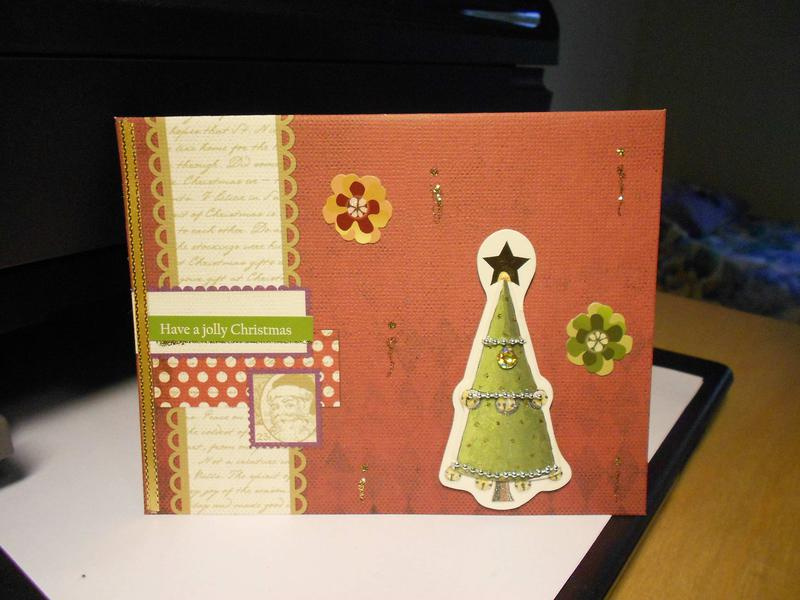 Christmas card: tree and flowers