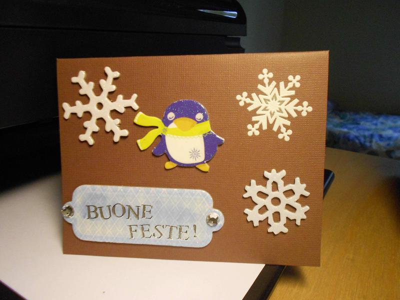 Christmas card: penguin with scarf