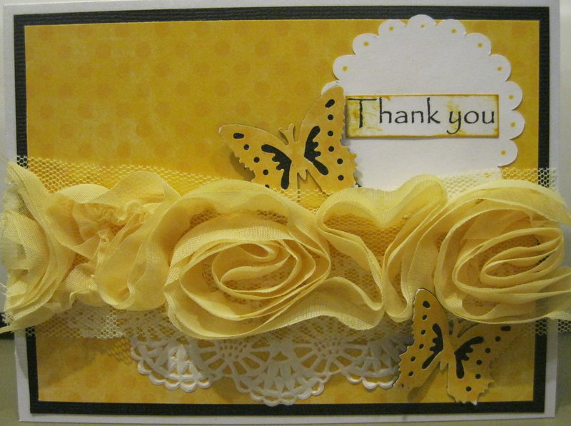 yellow butterfly thank you card