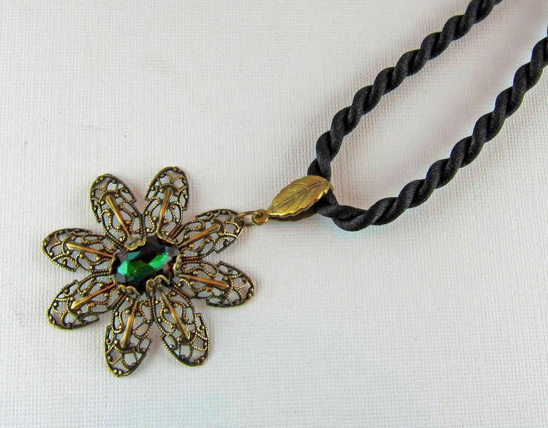 Vintage Swarovski Crystal and Antiqued Brass Cord Necklace