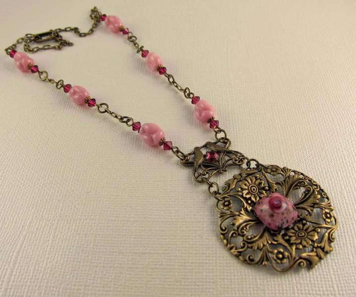 Vintage Rose Cabochon and Vintage Bead Necklace