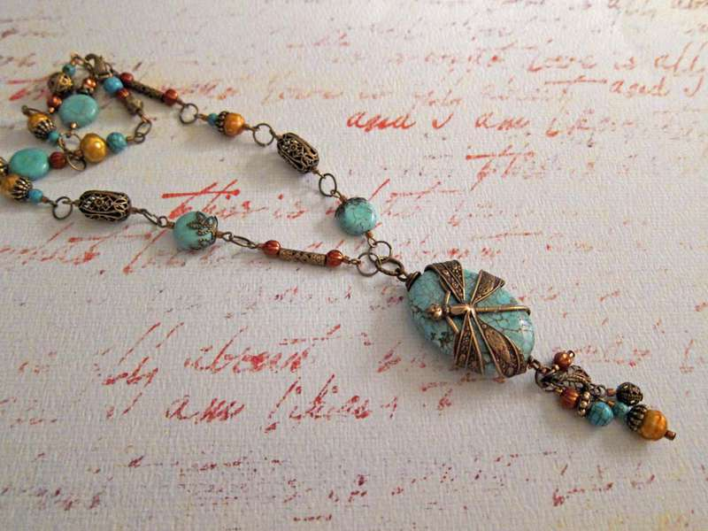Whimsical Turquoise Dragonfly Wrapped Pendant Necklace
