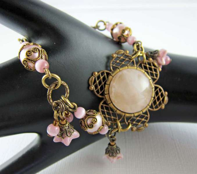 Vintage Inspired Rose Quartz, Pink Pearl, and Pink Cat Eye Bracelet