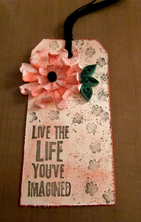 Decorative Tag with Quilled Flowers