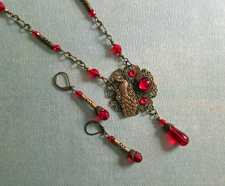 Vintage Inspired Whimsical Peacock and Red Cabochon Necklace Set