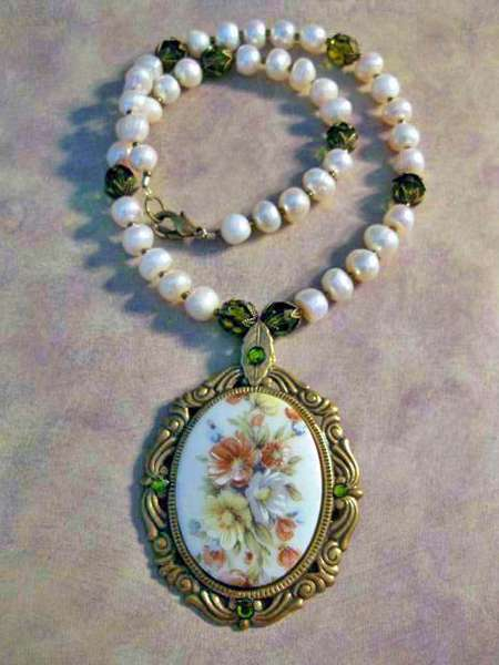 Vintage Floral Cameo, Pearl, and Crystal Necklace