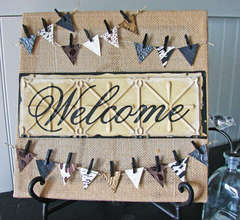Welcome Burlap Stretched Canvas
