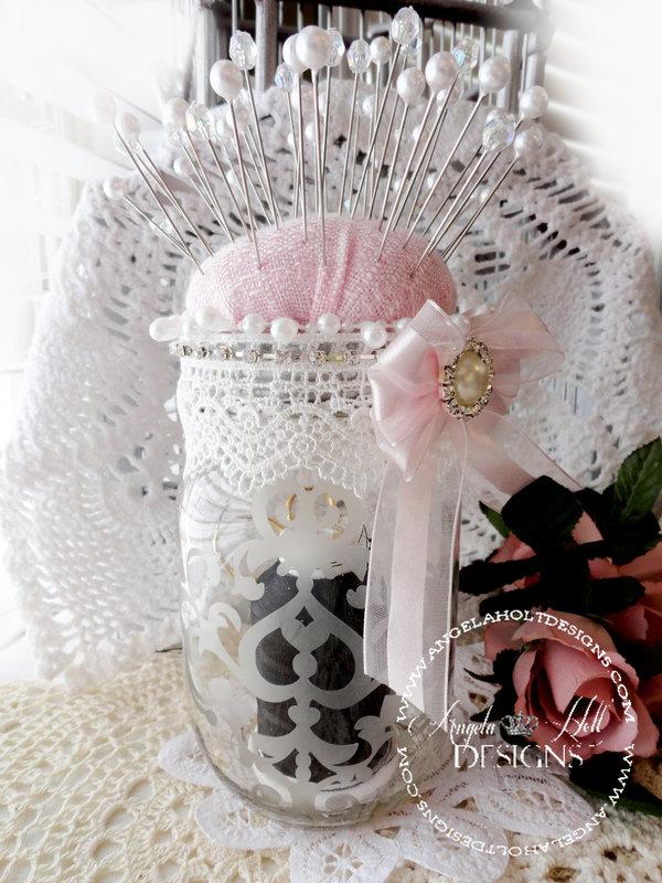 Etchall Etched Glass Mason jar Pin Cushion