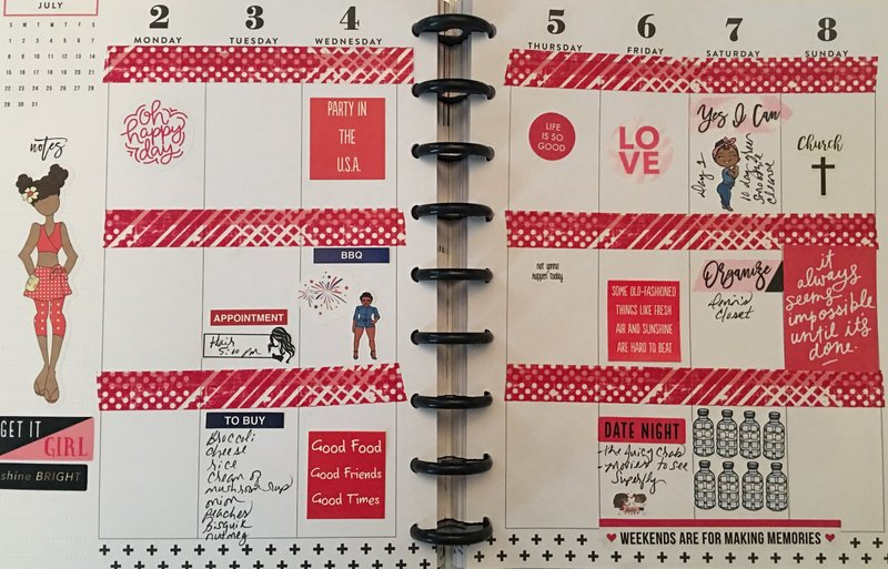 Planner layout 2 July -8 July 18.