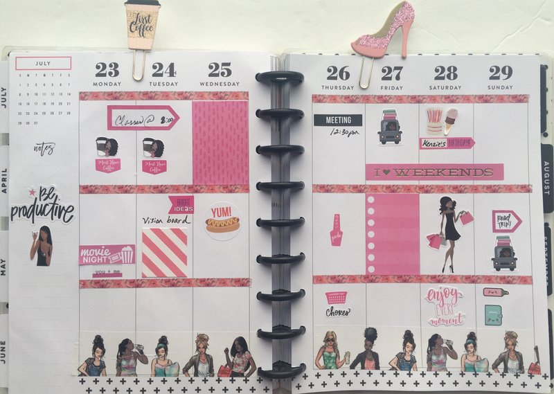 Planner layout 23 July- 29 July 2018