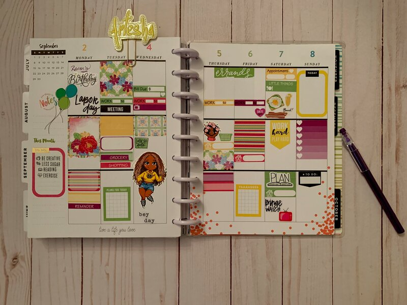 Planner spread 2 September - 8 September 2019.