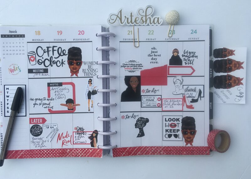 Planner spread 18 March- 24 March 2019