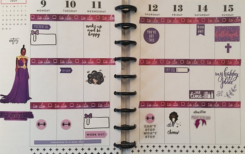 Planner layout 9 July-15 July 2018